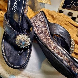 Bling wedge sandals